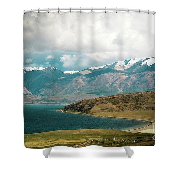 Lake Manasarovar Kailas Yantra.lv Tibet Shower Curtain