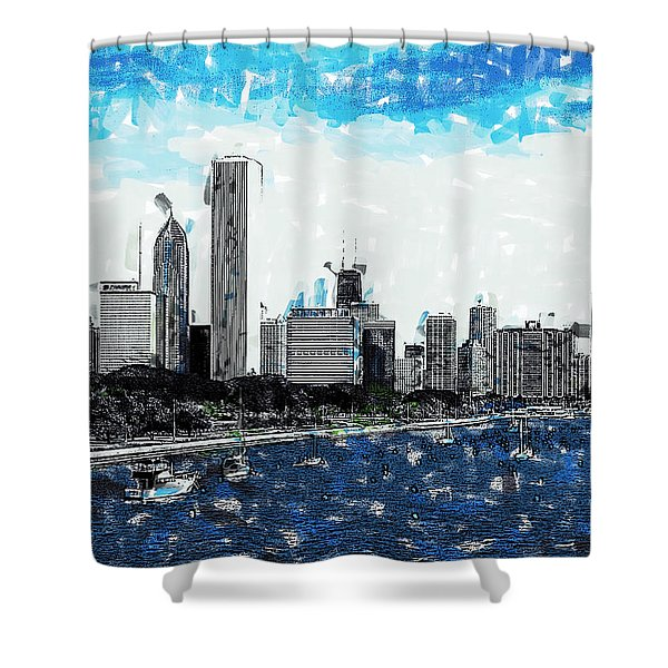 Lake Michigan And The Chicago Skyline Shower Curtain
