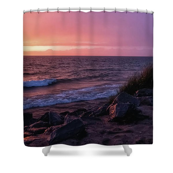 Shower Curtain featuring the photograph Lake Michigan Sunset by Heather Kenward