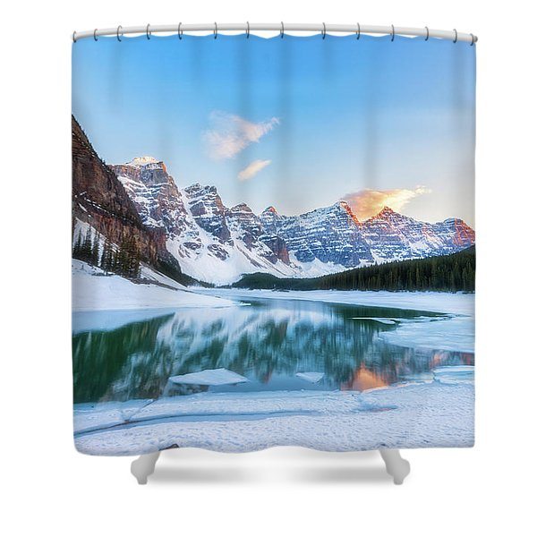 Lake Moraine Sunset Shower Curtain