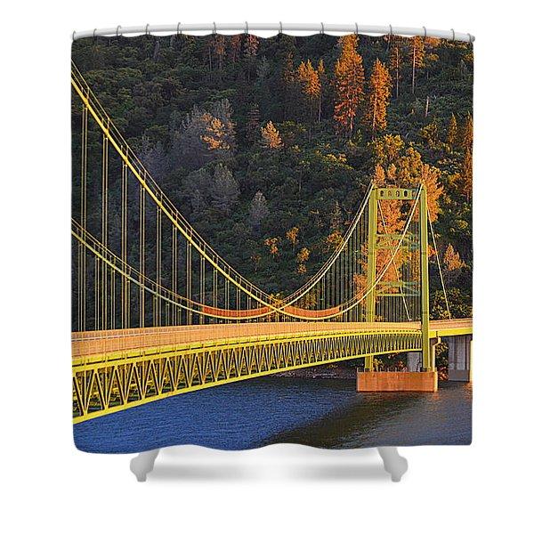 Lake Oroville Green Bridge At Sunset Shower Curtain