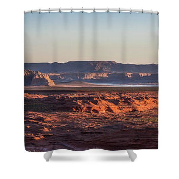 Lake Powell Sunrise Panorma Shower Curtain