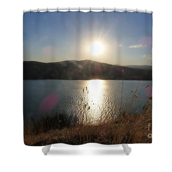 Shower Curtain featuring the photograph Lake Roosevelt Sun by Charles Robinson