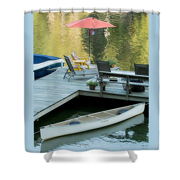 Lake-side Dock Shower Curtain