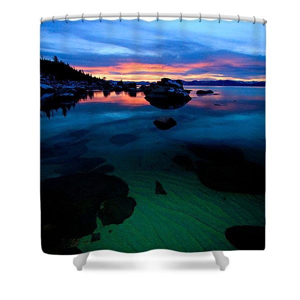 Lake Tahoe Clarity At Sundown Shower Curtain