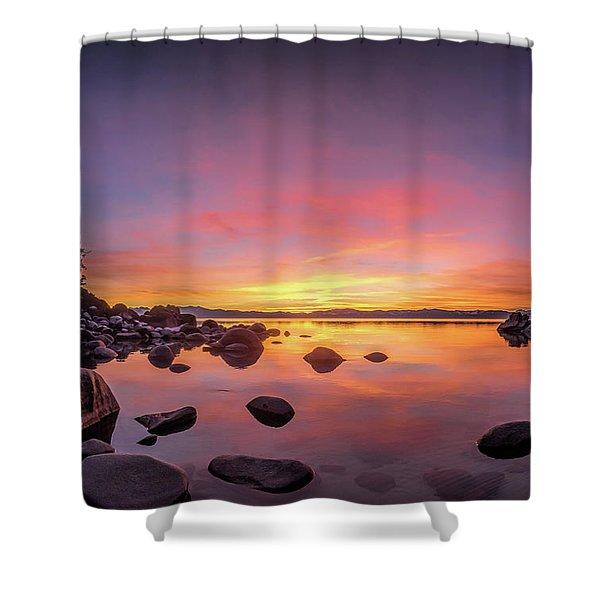 Lake Tahoe Sunset Peace Shower Curtain