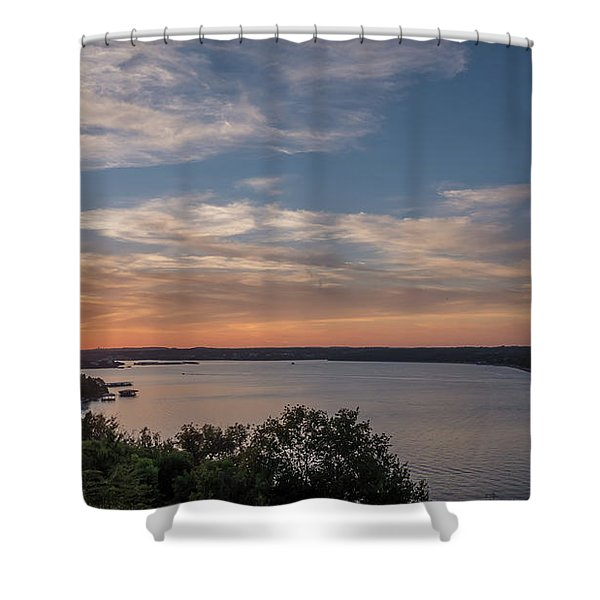 Lake Travis During Sunset With Clouds In The Sky Shower Curtain