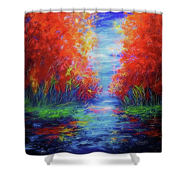 Olena Art Lake View Abstract Artwork Shower Curtain
