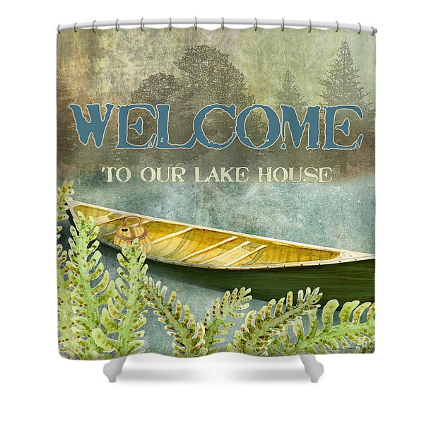 Lakeside Lodge - Welcome Sign Shower Curtain