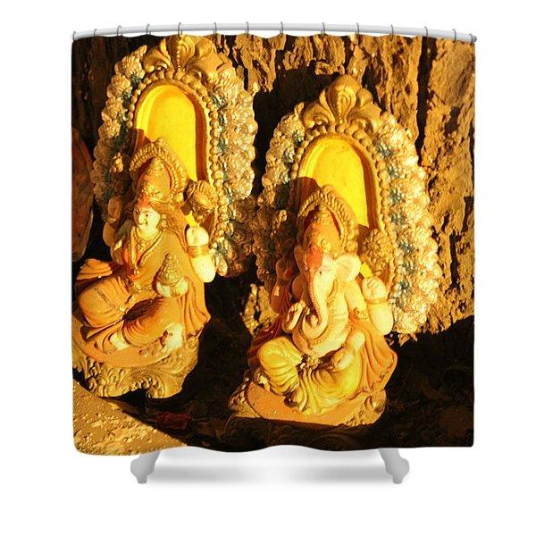 Lakshmi And Ganesha, Vrindavan Shower Curtain