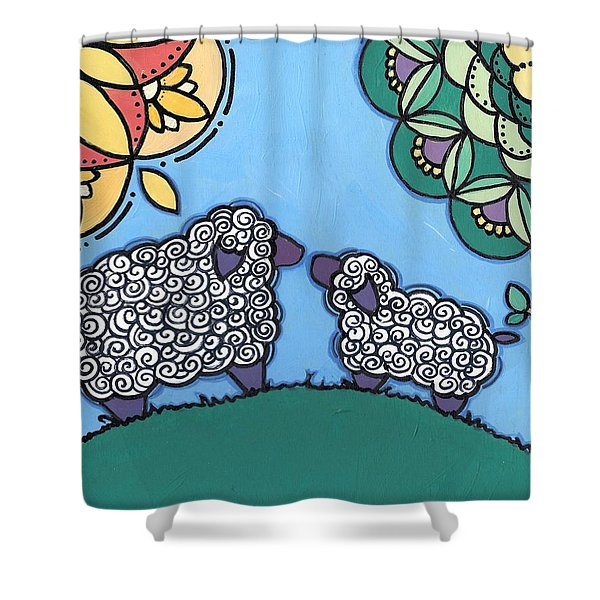 Lamb And Mama Sheep Shower Curtain