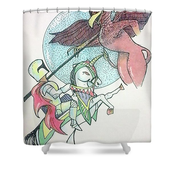 Lancelot And Griffin  Shower Curtain
