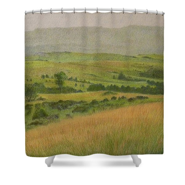 Shower Curtain featuring the drawing Land Of Grass by Cris Fulton