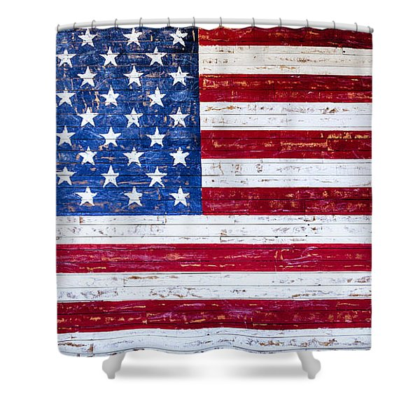 Shower Curtain featuring the photograph Land Of The Free,american Flag Canvas Print,photographic Print,art Print,framed Print,greeting Card, by David Millenheft