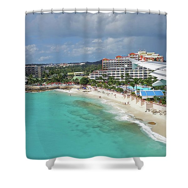 Landing Over Sunset Beach Saint Martin Caribbean Shower Curtain