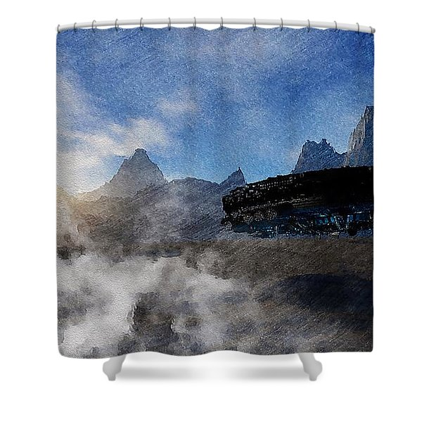 Shower Curtain featuring the painting Landing Site by Mark Taylor