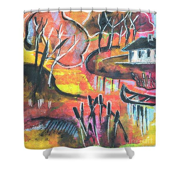 Landscape Seasonal Illustration Shower Curtain