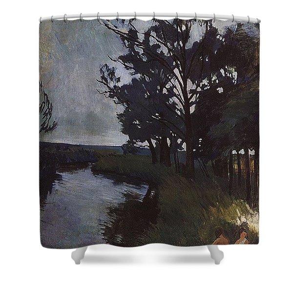 Landscape With A River Zinaida Serebryakova Shower Curtain