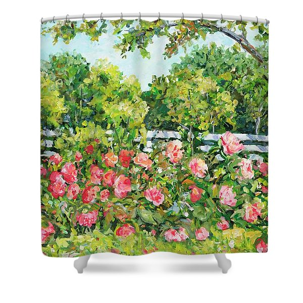 Landscape With Roses Fence Shower Curtain