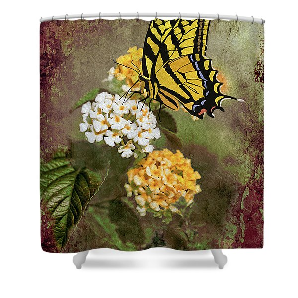 Lantana And Incoming Butterfly Shower Curtain