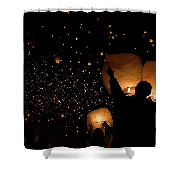 Lantern Fest Group Shower Curtain