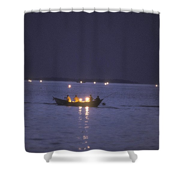Lanterns Set Out At Night For Netting Shower Curtain
