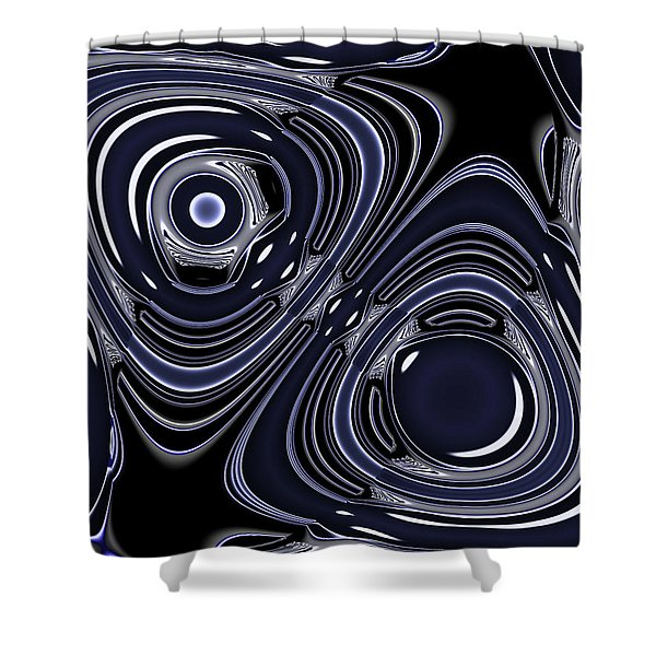 Lapis And Chrome Abstract Shower Curtain