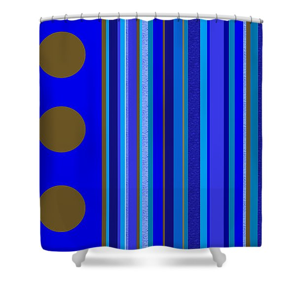 Large Blue Abstract - Panel Three Shower Curtain