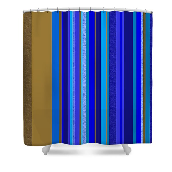 Large Blue Abstract - Panel Two Shower Curtain