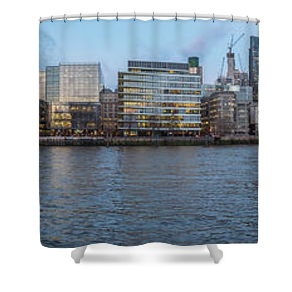 Large Panorama Of Downtown London Betwen The London Bridge And T Shower Curtain