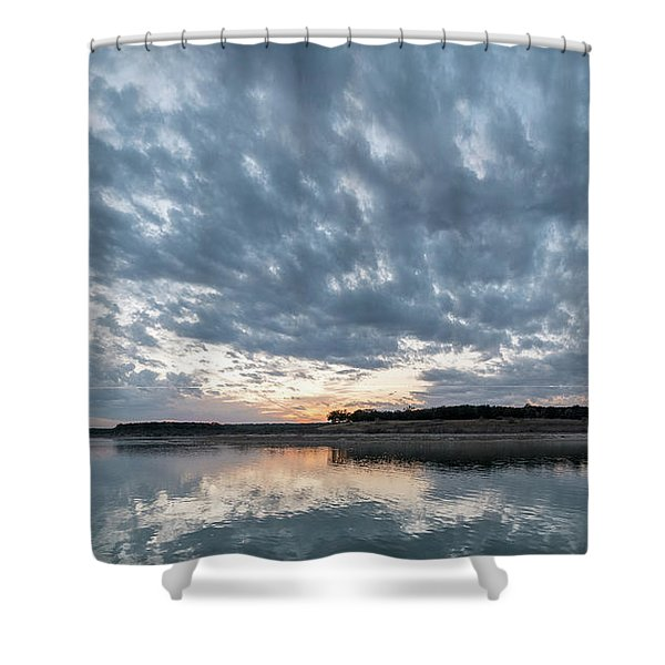 Large Panorama Of Storm Clouds Reflecting On Large Lake At Sunse Shower Curtain