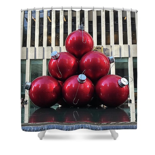 Large Red Ornaments Shower Curtain