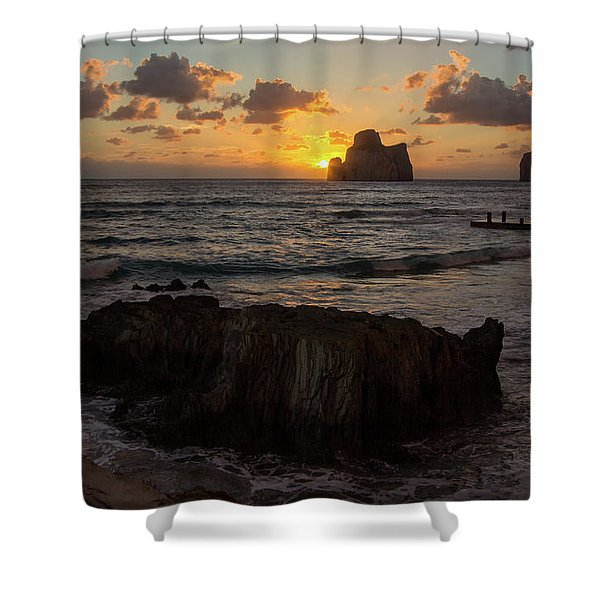 Large Rock Against The Light Shower Curtain