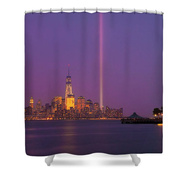 Shower Curtain featuring the photograph Laser Twin Towers In New York City by Ranjay Mitra
