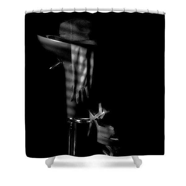 Last Call In Black And White Shower Curtain