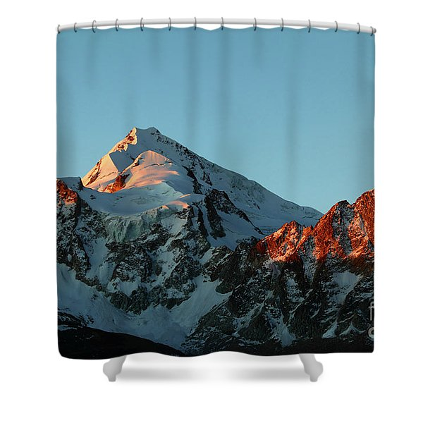 Last Light On Mt Huayna Potosi Shower Curtain
