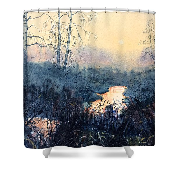 Last Light On Skipwith Marshes Shower Curtain