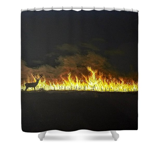 Shower Curtain featuring the painting Last Look Back At Home by Kevin Daly