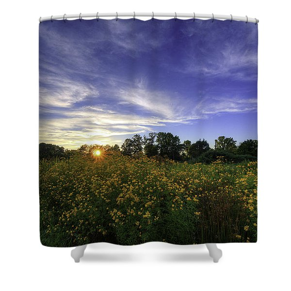 Last Rays Over The Flowers Shower Curtain