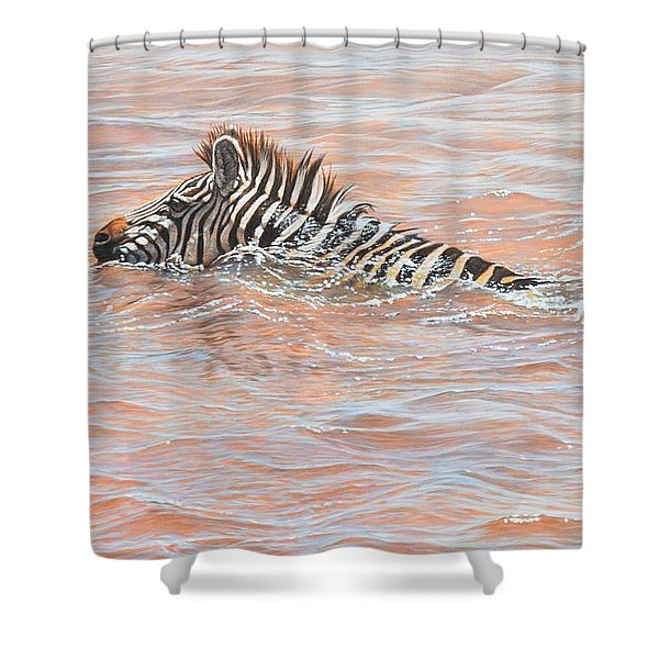 Shower Curtain featuring the painting Last To Cross by Alan M Hunt