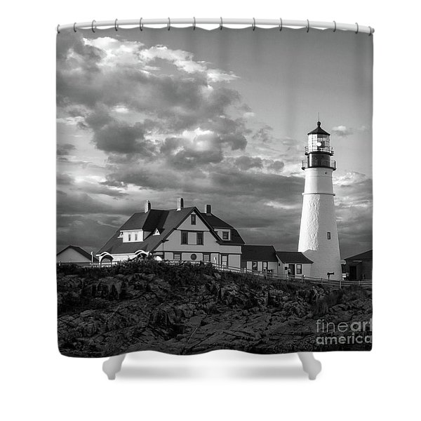 Late Afternoon Clouds, Portland Head Light  -98461-sq Shower Curtain