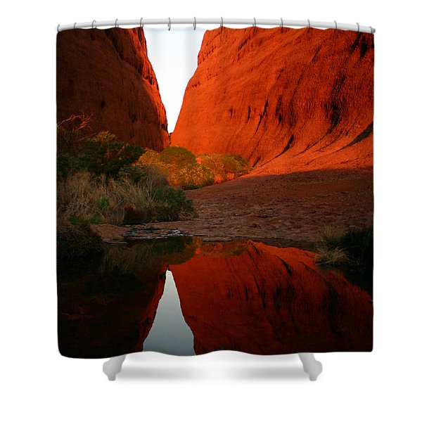 Late Afternoon Light And Reflections At Kata Tjuta In The Northern Territory Shower Curtain