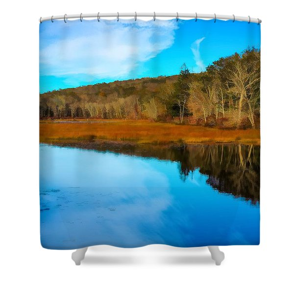 Late Fall At A Connecticut Marsh. Shower Curtain