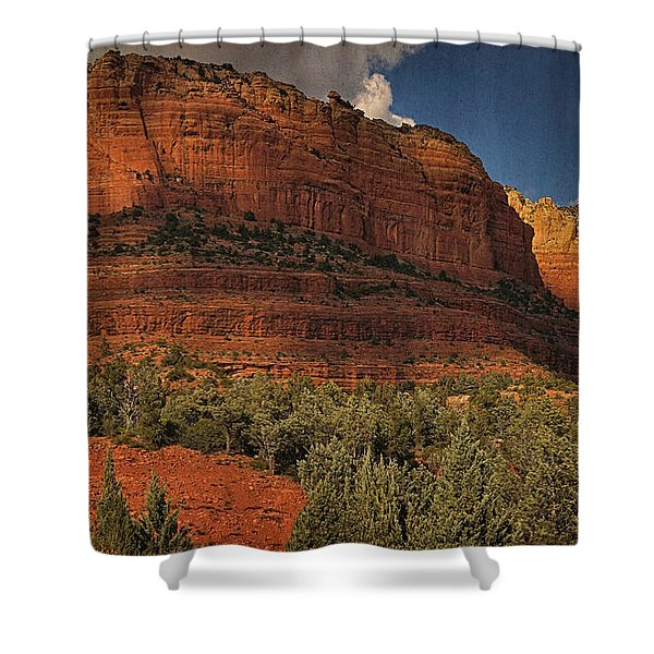 Late Light At Brin's Mesa Txt Pano Shower Curtain