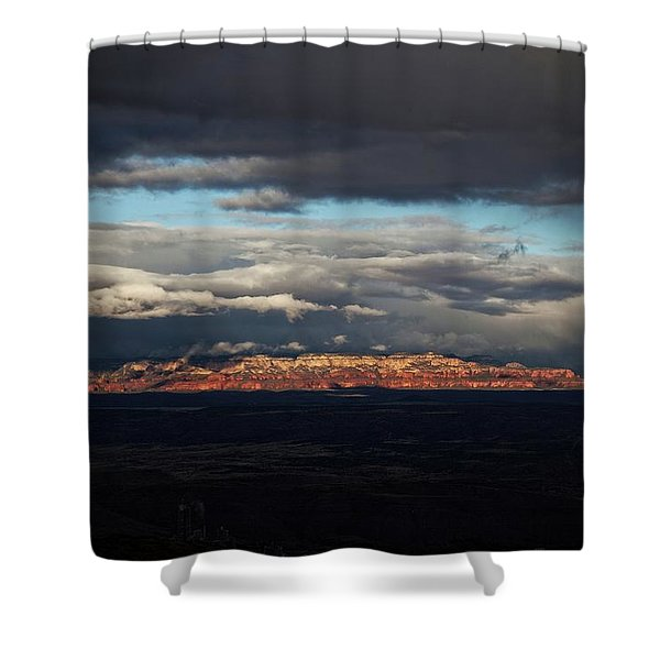 Late Light On Red Rocks With Storm Clouds Shower Curtain