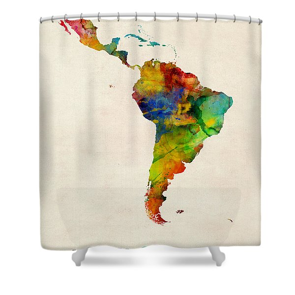 Latin America Watercolor Map Shower Curtain