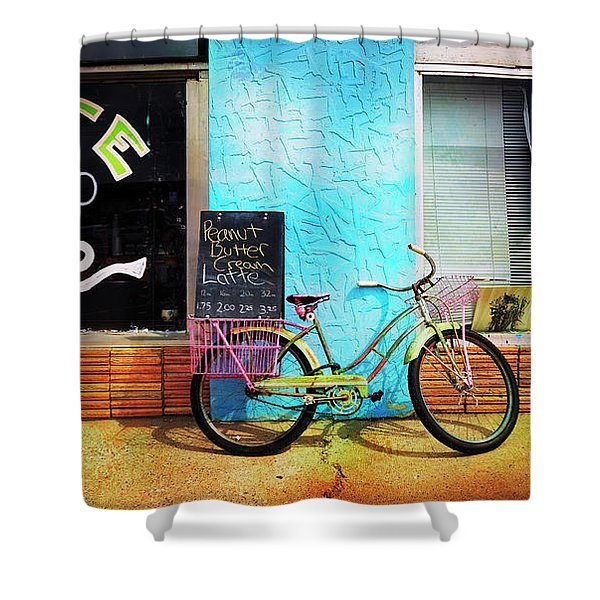 Latte Love Bicycle Shower Curtain