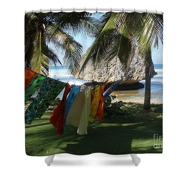 Laundry Day In Barbados Shower Curtain