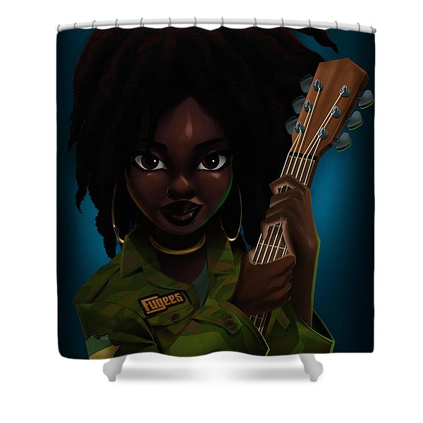 Shower Curtain featuring the digital art Lauryn Hill by Nelson Dedos Garcia