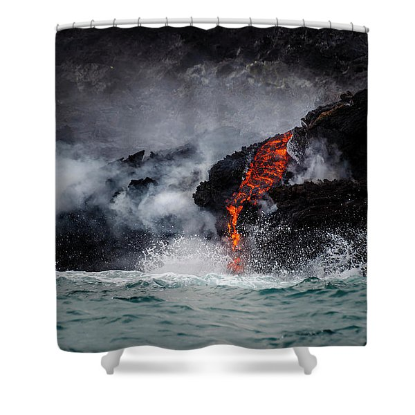 Lava Dripping Into The Ocean Shower Curtain